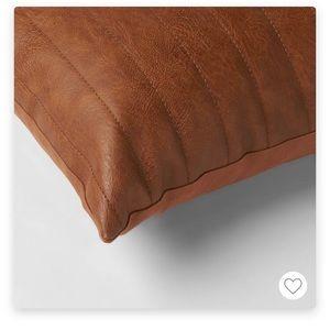 Faux Leather Decorative Lumbar Pillow